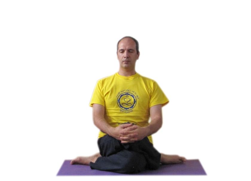 DHYANA VIRASANA - Postura Eroului care meditează - execuția pe partea dreaptă